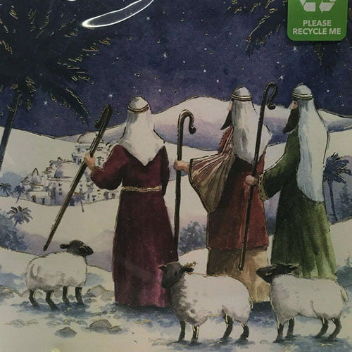 Front of the cards depicting three shepherds with their sheep in a snowy scene
